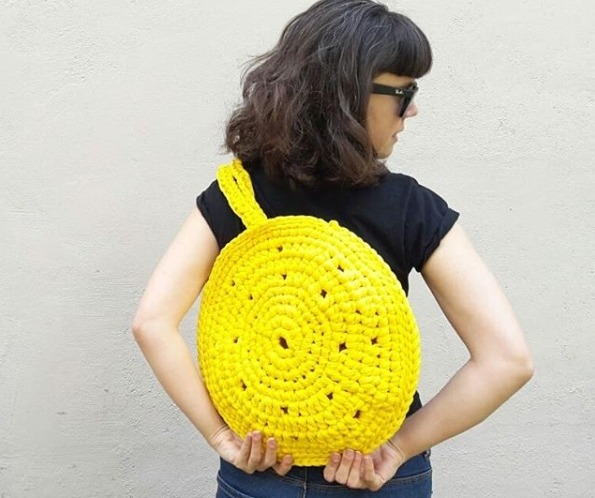 bolso de anna knit in jaume para el yellow day de rosas crafts