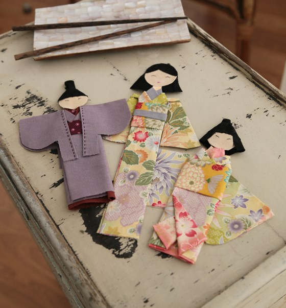 Origami en tela.Washi Ningyo. Patrón