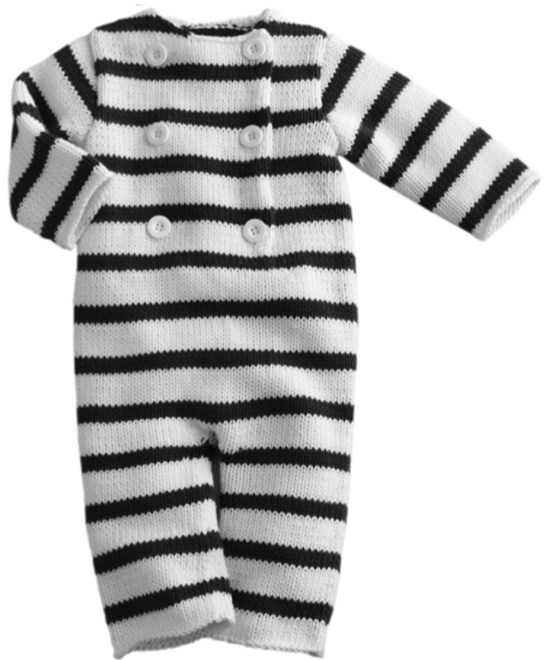 Pelele de rayas para bebè. Patrón