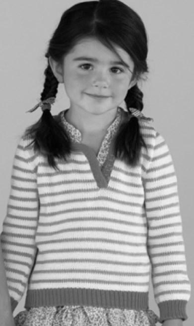 Jersey de rayas para niña. Patrón