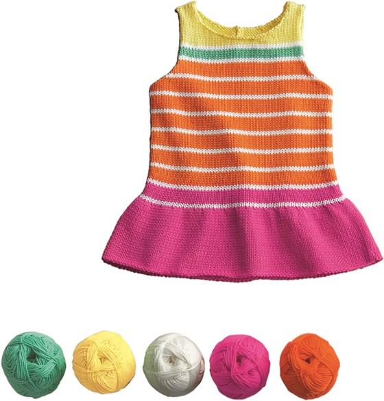 Vestido de rayas para bebé. Patrón