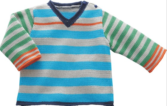 Jersey de rayas multicolor para bebé. Patrón