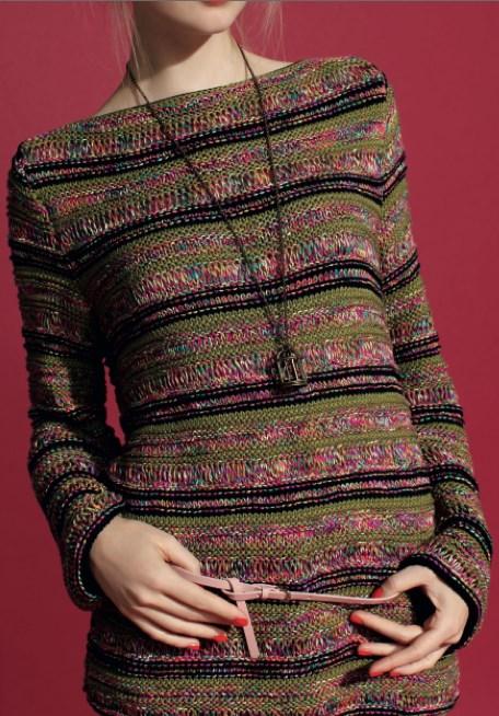 Jersey de rayas para mujer. Patrón