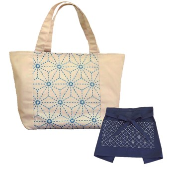 kit 2x1 delantal o tote bag color ivory